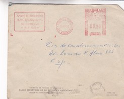 1953 COMMERCIAL COVER- BANCO INDUSTRIAL DE LA REPUBLICA ARGENTINA. CIRCULEE, FRANKING MACHINE - BLEUP - Argentinië