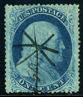 US #24 Used 1c Franklin, Type V, From 1857... FANCY PEN CANCEL - Used Stamps
