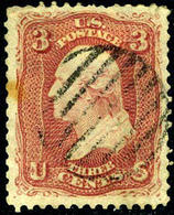 US #65 Dull Red 3c EXCEPTIONAL CENTERING ... 1861-1862 Ben Franklin Issue - Used Stamps