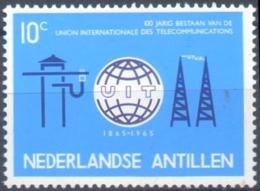 Antilles Dutch, 1965 Centennial I.T.U., 1 Val MNH, Radio Mast, Globe, Symbol, International Telecommunication Union - Otros