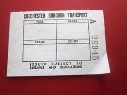 COACH STATION COLCHESTER BOROUGH TRANSPORT Transportation Tickets Single Tickets Billet Ticket Metro Shuttle Service - Europe