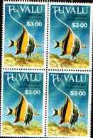 5544BIS ) Tuvalu 1992 $3 PESCI Sg646 BELLE/IN QUARTINA USATA - Tuvalu