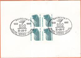 GERMANIA - GERMANY - Deutschland - ALLEMAGNE - 1990 - Block Of 4 X 5 Braunschweiger Löwe + Special Cancel Bayreuth 500 J - Storia Postale