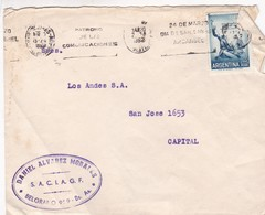 1962 COMMERCIAL COVER- DANIEL ALVAREZ MORALES. CIRCULEE GRAN BUENOS AIRES TO CAPITAL FEDERAL. BANDELETA PARLANTE - BLEUP - Lettres & Documents