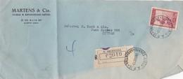 1937 COMMERCIAL COVER- MARTENS & CIA. CIRCULEE BUENOS AIRES CAPITAL. RECOMMANDE- BLEUP - Lettres & Documents
