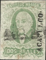 J) 1856 MEXICO, HIDALGO, 2 REALES GREEN, ACAPULCO DISTRICT,LINEAL STRIKE, MN - Mexico