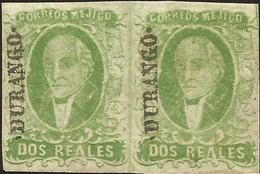 J) 1856 MEXICO, HIDALGO, 2 REALES GREEN YELLOW, PAIR, DURANGO DISTRICT, NOT GUM - Mexico