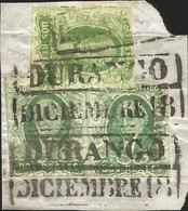 J) 1856 MEXICO, HIDALGO, FRAGMENT OF LETTER, 2 REALES GREEN, MULTIPLE STAMPS, DURANGO DISTRICT, BLACK BOX CANCELLATION, - Mexico