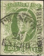 J) 1856 MEXICO, HIDALGO, 2 REALES GREEN, GUADALAJARA DISTRICT, BRIGHT GREEN NATURAL PAPER FOLD, CIRCULAR CANCELLATION, M - Mexico