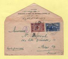 Liban - Beyrouth - Destination France - 1945 - Censure FFL - Envoi Non Clos Avec N°197 - Vins Et Spiritueux - Gran Libano (1924-1945)