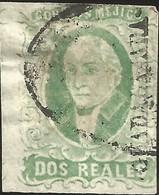 J) 1856 MEXICO, HIDALGO, 2 REALES ESMERALD, GUADALAJARA DISTRICT, OVAL CANCELLATION, MN - Mexico