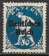 GERMANIA REICH REP DI WEIMAR 1920 FRANCOBOLLI DI BAVIERA SOPRASTAMPATI UNIF. 229 MNH SENZA GOMMA VF - Germania