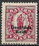 GERMANIA REICH REP DI WEIMAR 1920 FRANCOBOLLI DI BAVIERA SOPRASTAMPATI UNIF. 230  MNH SENZA GOMMA VF - Germania