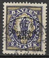 GERMANIA REICH REP DI WEIMAR 1920 FRANCOBOLLI DI BAVIERA SOPRASTAMPATI UNIF. 233  USATO VF - Germania