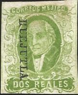 J) 1856 MEXICO, HIDALGO, 2 REALES YELLOW GREEN, HUEJUTLA DISTRICT, NICE MARGINS, MN - Mexico