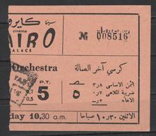 Egypt - RARE - Vintage Cinema Ticket - ( Cinema Cairo ) - Toegangskaarten
