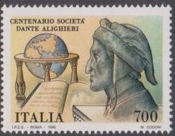 Italy Republic S 1938 1990 Dante Alighieri Society Centenary, Mint Never Hinged - 1981-90: Mint/hinged