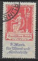 GERMANIA REICH REP DI WEIMAR 1922 A FAVORE DEGLI ANZIANI E DEI FANCIULLI UNIF. 238 USATO VF - Germania