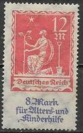 GERMANIA REICH REP DI WEIMAR 1922 A FAVORE DEGLI ANZIANI E DEI FANCIULLI UNIF. 238 MNH SENZA GOMMA VF - Germania
