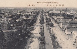 Sapporo Japan, View Of City, Boulevard And Canal, C1900s/10s Vintage Postcard - Japan