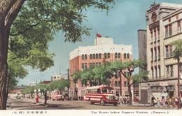 Sapporo Japan, Sapporo Station And Animated Street Scene US Soldiers On Sidewalk, C1950s Vintage Postcard - Japan