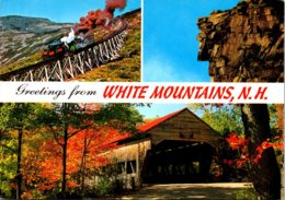 New Hampshire White Mountains Greetings Showing Old Man Of The Mountains Mt Washington Cog Railway & Albany Bridge - White Mountains
