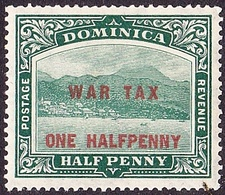 DOMINICA 1916 KGV 1/2d On 1/2d War Tax Deep Green SG55 MH - Dominica (...-1978)