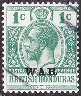 BRITISH HONDURAS 1917KGV 1 Cent Blue-Green SG116Fine Used - British Honduras (...-1970)