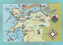 Small Post Card,Map Of North Wales,V103. - Wales
