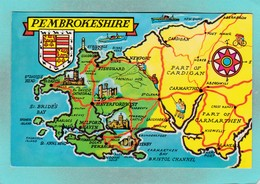 Small Post Card,Map Of Pembrokeshire,Wales,V103. - Pembrokeshire