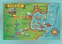 Small Post Card,Map Of Torbay,Devon,V103. - England