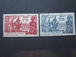 VEND BEAUX TIMBRES DE LA COTE FRANCAISE DES SOMALIS N° 170 + 171 , X !!! - Côte Française Des Somalis (1894-1967)