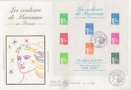 Enveloppe  FDC  Grand  Format  1er  Jour   FRANCE   Bloc   Feuillet   Les  COULEURS  DE  MARIANNE   2001 - 2000-2009