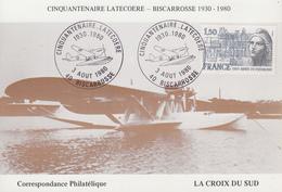 Carte   FRANCE   Cinquantenaire   LATECOERE    BISCAROSSE   1980 - Aviones
