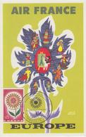 Carte  Maximum   AIR  FRANCE   EUROPA    Exposition  Philatélique   DRAVEIL   1964 - Esposizioni Filateliche