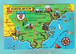 Small Post Card,Map Of South Devon,England,V104. - Engeland