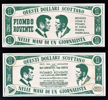 """FOGLIETTO PUBBL. FILM """" PIOMBO ROVENTE """" 1957 T. CURTIS/B. LANCASTER (1/41) - Pubblicitari"""