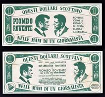 "FOGLIETTO PUBBL. FILM "" PIOMBO ROVENTE "" 1957 T. CURTIS/B. LANCASTER (1/41) - Publicité"