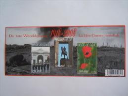 België Belgique 2008 La 1ere Guerre Mondiale Porte Menin Cocuelicots Popyes BL162 3842-3844  MNH ** - Blocs 1962-....