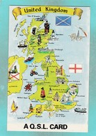 Small Post Card,Map Of United Kingdom,AQ.S.L. Card,V104. - United Kingdom