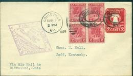 USA  1er Vol 1928 CLEVELAND / LOUISVILLE S/ep Cloche Avec Arr Verso TB.+bl De 4 N° 274 . - 1c. 1918-1940 Cartas