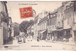 BAC19-  BEAULIEU  EN CORREZE  ROUTE NATIONALE        CPA  CIRCULE TRES RARE - Francia