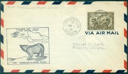 CANADA 1931 . 1 Er Vol FORT VERMILLON /PEACE RIVER Ct OURS . Arr Verso TB . - Primeros Vuelos