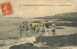 44 Ste Marguerite De Pornichet, La Côte Vers La Pointe, Groupe D'enfants Au 1er Plan, Carte Pas Courante, 1916 - France