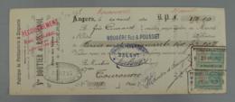 Lettre De Change 49 002, Mandat Maine Et Loire - Angers - Boutier & Rossignol - Ferblanterie & Zinquerie, Timbre Fiscal - Lettres De Change