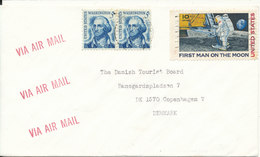 USA Cover Sent Air Mail To Denmark (First Man On The Moon Stamp) - United States