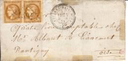 FRIERES-FAILLOUEL 02 AISNE Cachet Type 24 1871 Paire  Ceres 10c N°43A, - Marcophilie (Lettres)