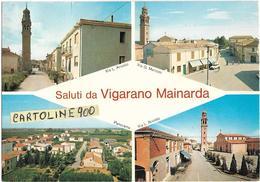 Emilia Romagna-ferrara- Vigarano Mainarda Saluti Da Vigarano Mainarda Vedute Vedutine Via Ariosto Via Marconi Panorama - Italia