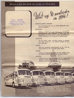 Programma Programme - Reizen Verhenne Kortrijk - 1956 - Autocars , Cruises - Programs