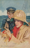 Très Belle Jeune Fille Regardant Au Sextant Avec Un Officier De Marine Harrison Fischer 1917 . A Novice - Altri